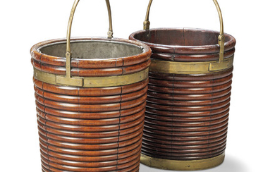 TWO IRISH GEORGE III BRASS-MOUNTED MAHOGANY PEAT-BUCKETS, LATE 18TH CENTURY