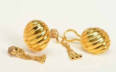 TWO PAIRS OF EARRINGS, the first pair designed as textured d...