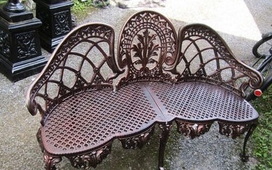 Three Seat Cast Iron Bench of Scrolled Form on Original Cabr...