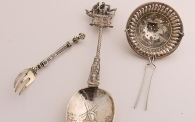 Three parts silver with a reminder spoon with a