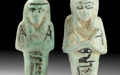 Translated Egyptian Faience Ushabti - Husband & Wife