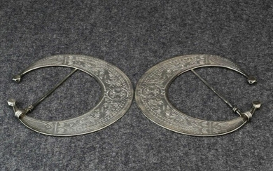 Tunisia, pair silver moon-shaped fibulae, 'Hillal', made and...