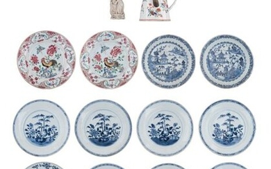 Two Chinese famille rose export porcelain dishes, decorated with a...