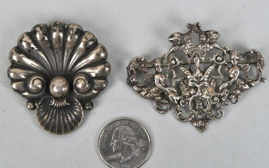 "Two ""Cini"" Sterling Pins, Shell & Satyr"