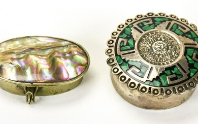 Two Miniature Sterling Silver & Inlay Boxes