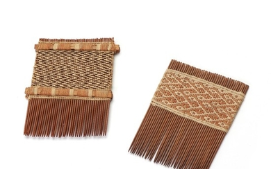 Two Nasca combs adorned with woven textiles in design on bamboo. Peru 400 B.C .- 600 A.D. L. 9–9.5 cm. (2)