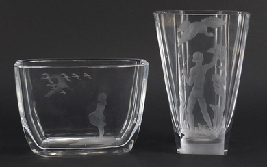 Two Orrefors glass vases including one designed by Sven