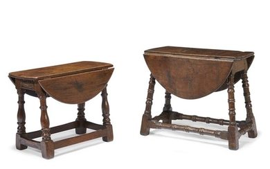 Two William & Mary carved oak joint stools with...