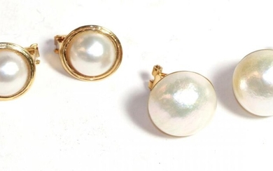 Two pairs of cultured pearl earrings, with post and clip...