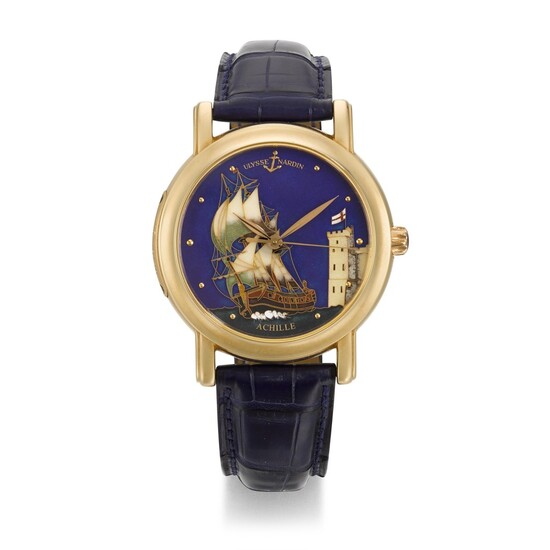 ULYSSE NARDIN   SAN MARCO ACHILLE, REF 136-11, LIMITED EDITION PINK GOLD WRISTWATCH WITH CLOISONNÉ ENAMEL DIAL, CIRCA 2005