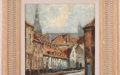 Unclearly signed, Cityscape with street and view of the