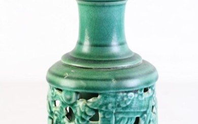 Unusual Chinese green crackle glazed double layered tripod vase, 'le' character to base (H23cm)