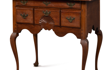 VERY FINE AND RARE QUEEN ANNE CARVED CHERRYWOOD DRESSING TABLE, WETHERSFIELD, CONNECTICUT, CIRCA 1760