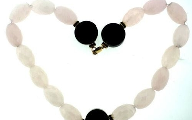 VINTAGE BEAUTIFUL PINK QUARTZ BEAD NECKLACE WITH ONYX