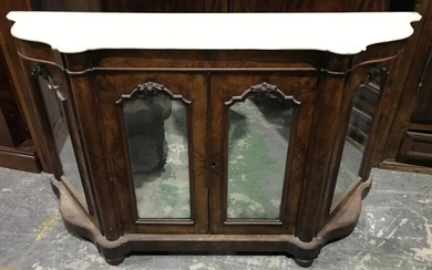 Victorian Figured Walnut Credenza, with shaped white marble top, above three mirror panel doors (marble restored) ( H94 x W167 x D49cm)