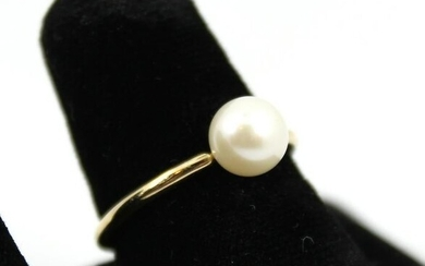 Vintage 14K Yellow Gold And Round Pearl Ring