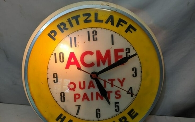 Vintage Acme Quality Paints Bubble Glass Light Up Clock