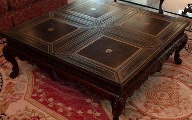 Vintage Square Wooden Coffee Table W/Gilt Inlay
