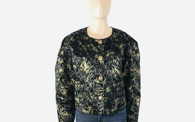 Vintage Women Black Gold Velvet Blazer Jacket Size US