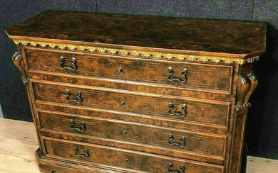 Walnut, marquetry and gilded wood dresser - Renaissance Style