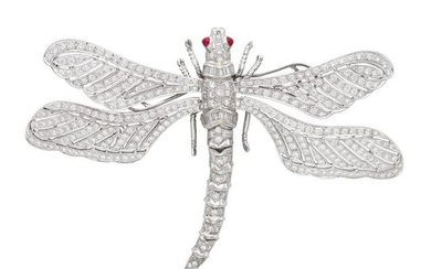 White Gold, Platinum, Diamond and Ruby Dragonfly Brooch