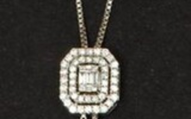 White gold necklace, adorned with an octagonal motif...