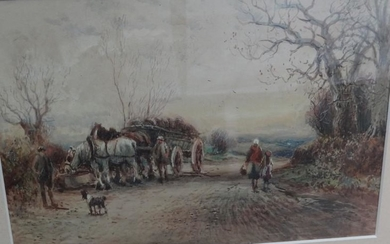William Manners, Figures and horse and cart on a...