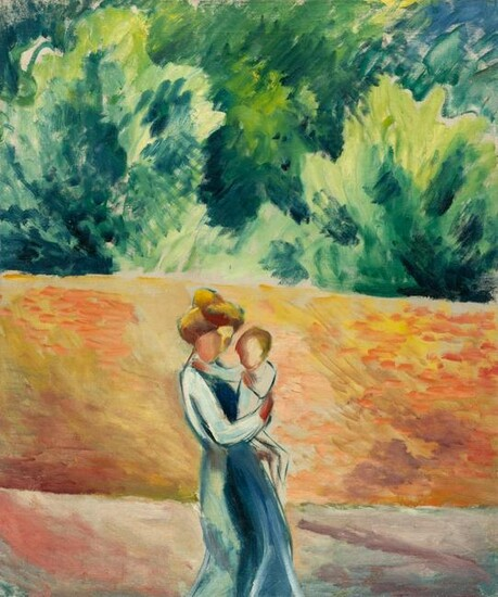 Woman and child on the garden wall