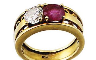 Yellow gold band ring with ruby and shiny...