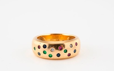 Yellow gold ring (750) set with small rubies,...