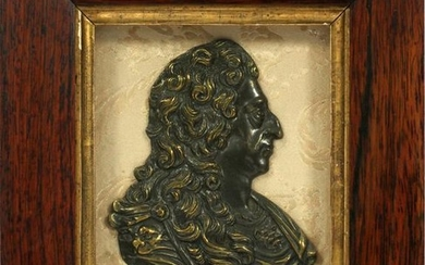 FRENCH BRONZE PLAQUE ROSEWOOD FRAME