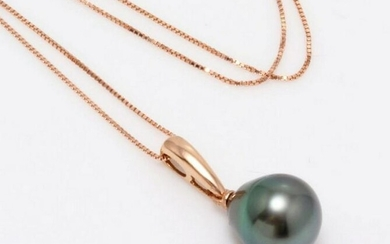 14 kt. Rose Gold - 10x11mm Peacock Tahitian Pearl Drop