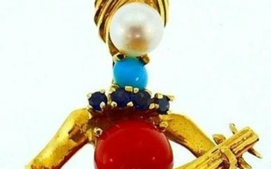 18k Yellow Gold Coral Turquoise Sapphire Pearl Tiffany