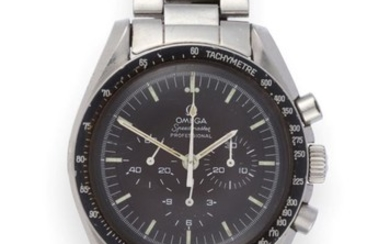 A Stainless Steel Chronograph Wristwatch, signed Omega, Model: Speedmaster, Professional,...