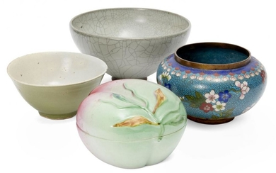 Two Chinese porcelain bowls, a peach shaped...