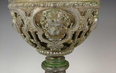 19th Victorian White Pot Metal Compote Center Piece