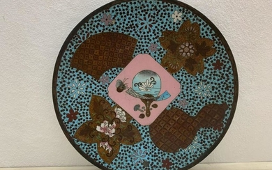 19th century cloisonné plate with various decorations