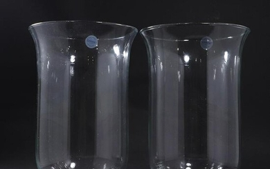 [2] Two DANSK Large Crystal Glass Vases Weighted Bases