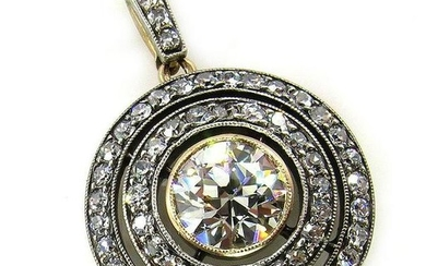 2.33ct Antique Vintage VICTORIAN DIAMOND Pendant