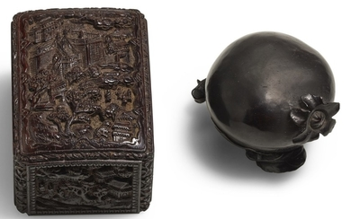 TWO SMALL ZITAN BOXES AND COVERS QING DYNASTY, 19TH CENTURY | 清十九世紀 紫檀小蓋盒一組兩件