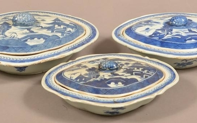 3 Canton Oriental Porcelain Covered Vegetable Dishes.