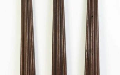 """(3) Carved mahogany architectural pilasters, 47""""h"""