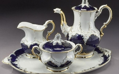 (4 Pc.) Meissen Coffee Service With Cobalt Blue