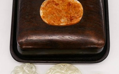 4pc Chinese Jade Pendants & Rosewood Box. Includes a