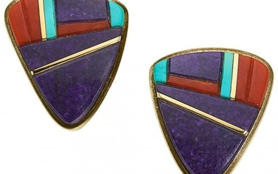 55290: Multi-Stone, Silver and Gold Earrings, Loloma T