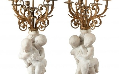 61090: A Pair of French Carrara Marble and Gilt Bronze