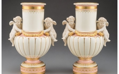 61090: A Pair of Mintons Partial Gilt Porcelain Vases f