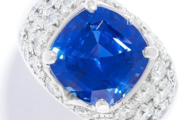 A 9.46 CARAT SAPPHIRE AND DIAMOND RING in 18ct white