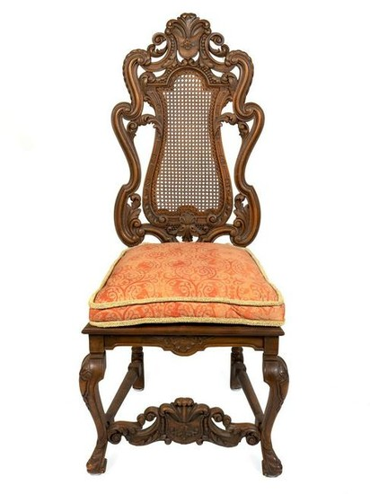 A Baroque Style Caned Walnut Side Chair Height 51