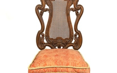 A Baroque Style Caned Walnut Side Chair